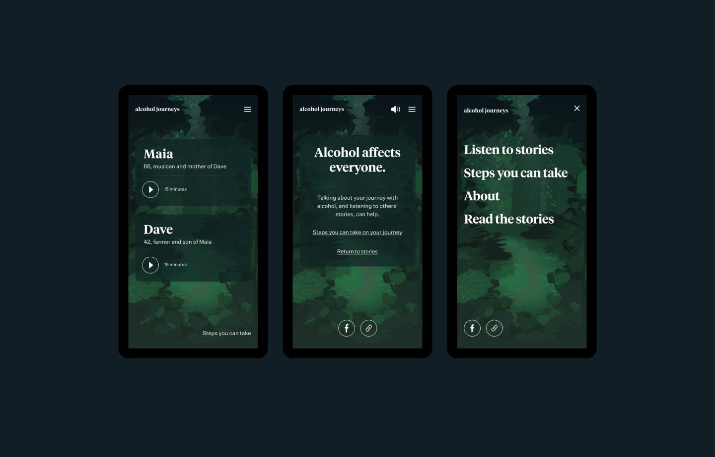 Alcohol Journey mobile designs