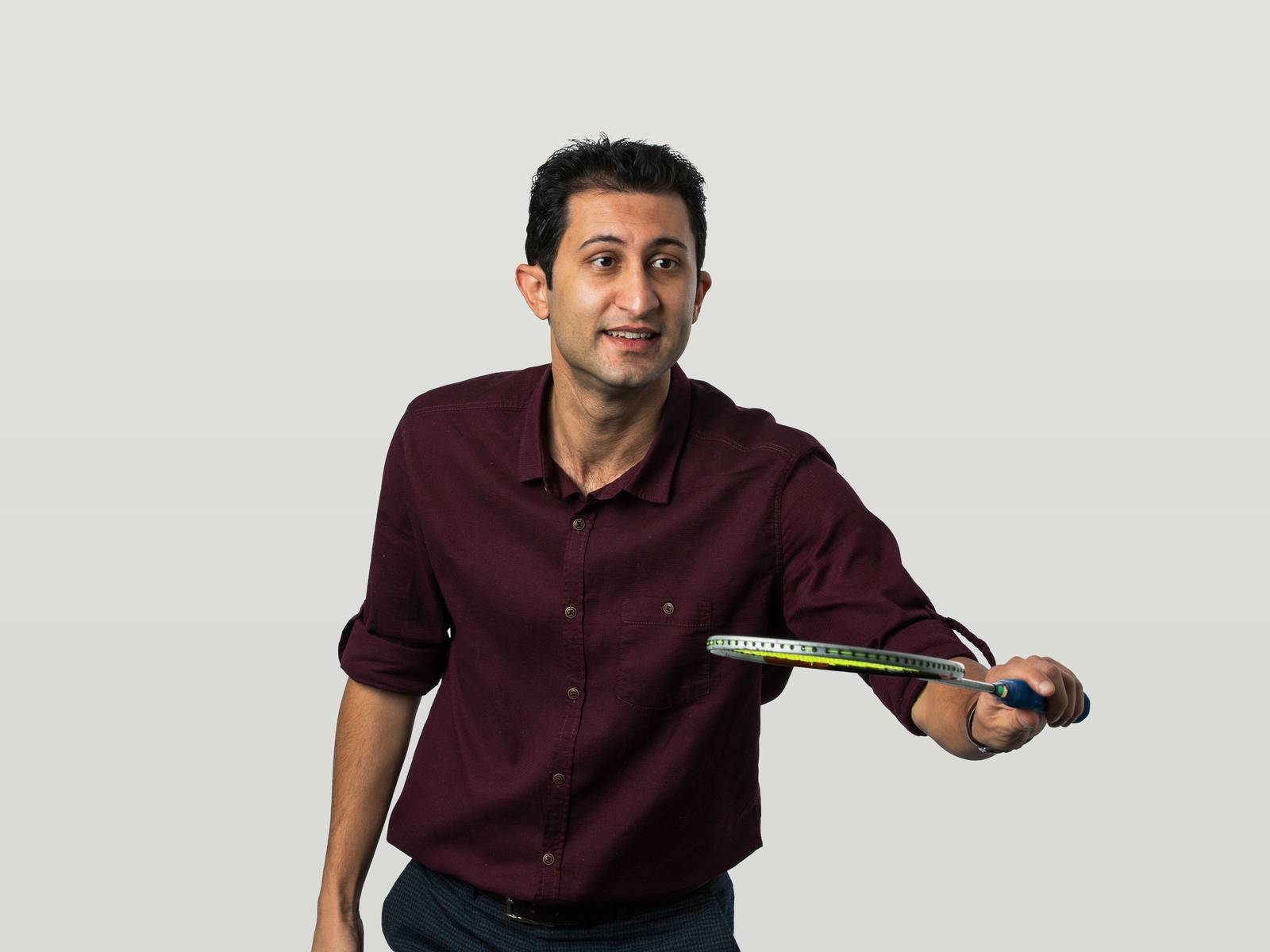 Ali playing badminton