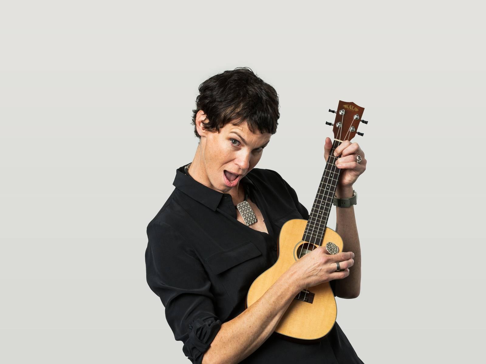 Bron playing the ukelele