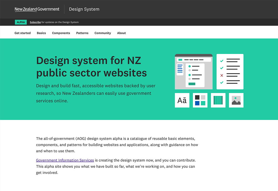 A screenshot of the New Zealand Government design system