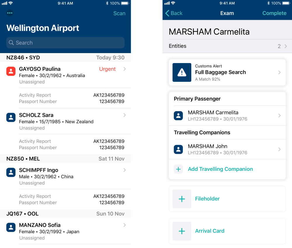 Screenshots of the NZ Customs Frontline Mobility App
