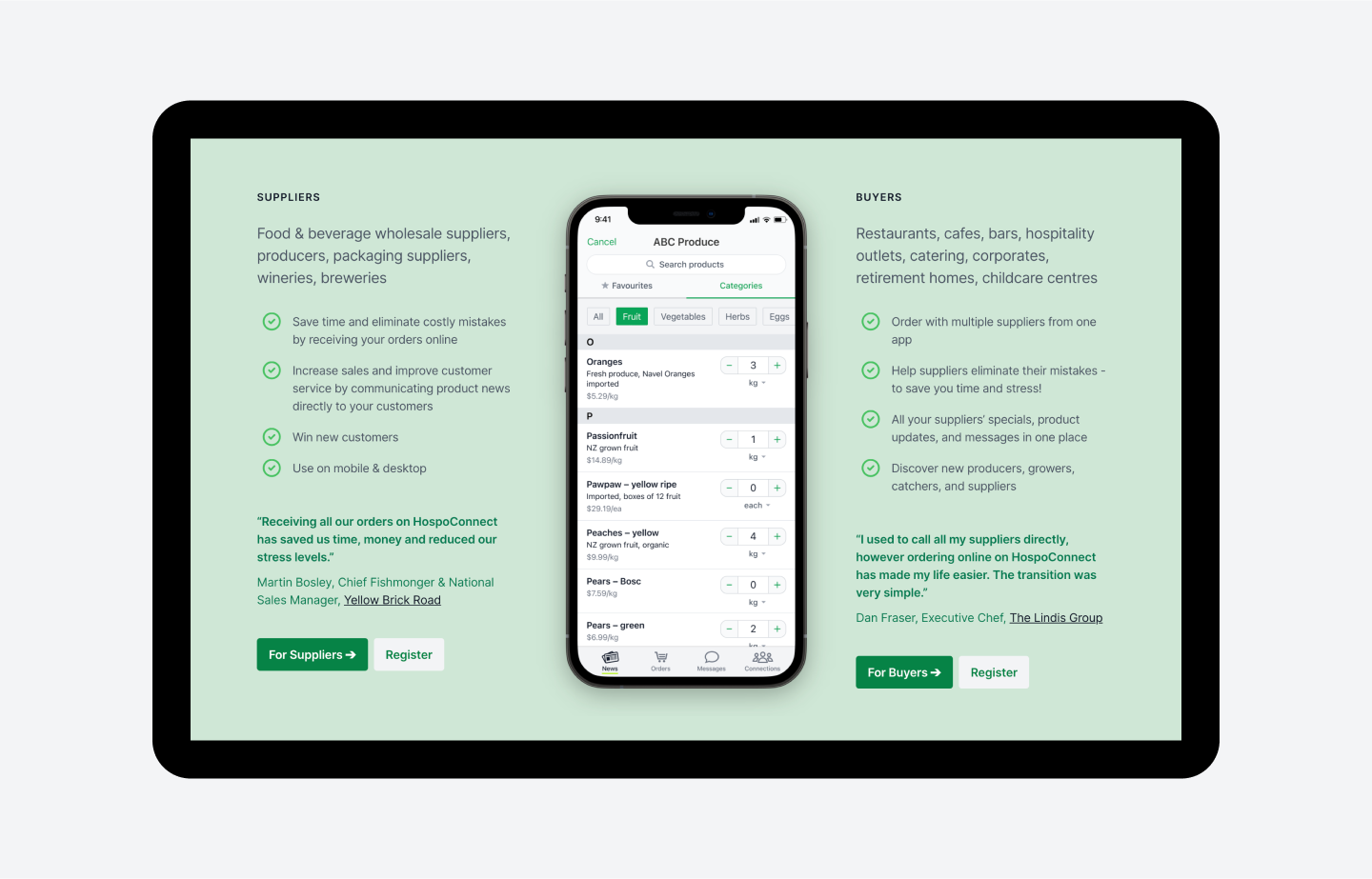 HospoConnect app benefits for suppliers and buyers