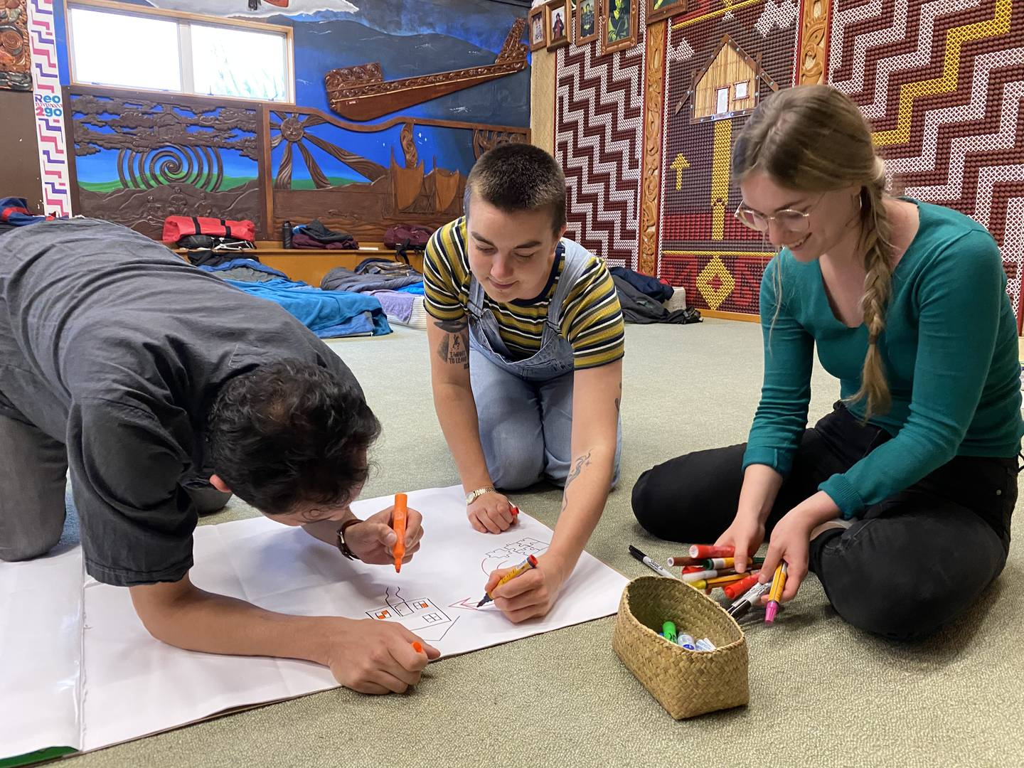 Ali, Alice, and Usha drawing the different stages of a pōwhiri.