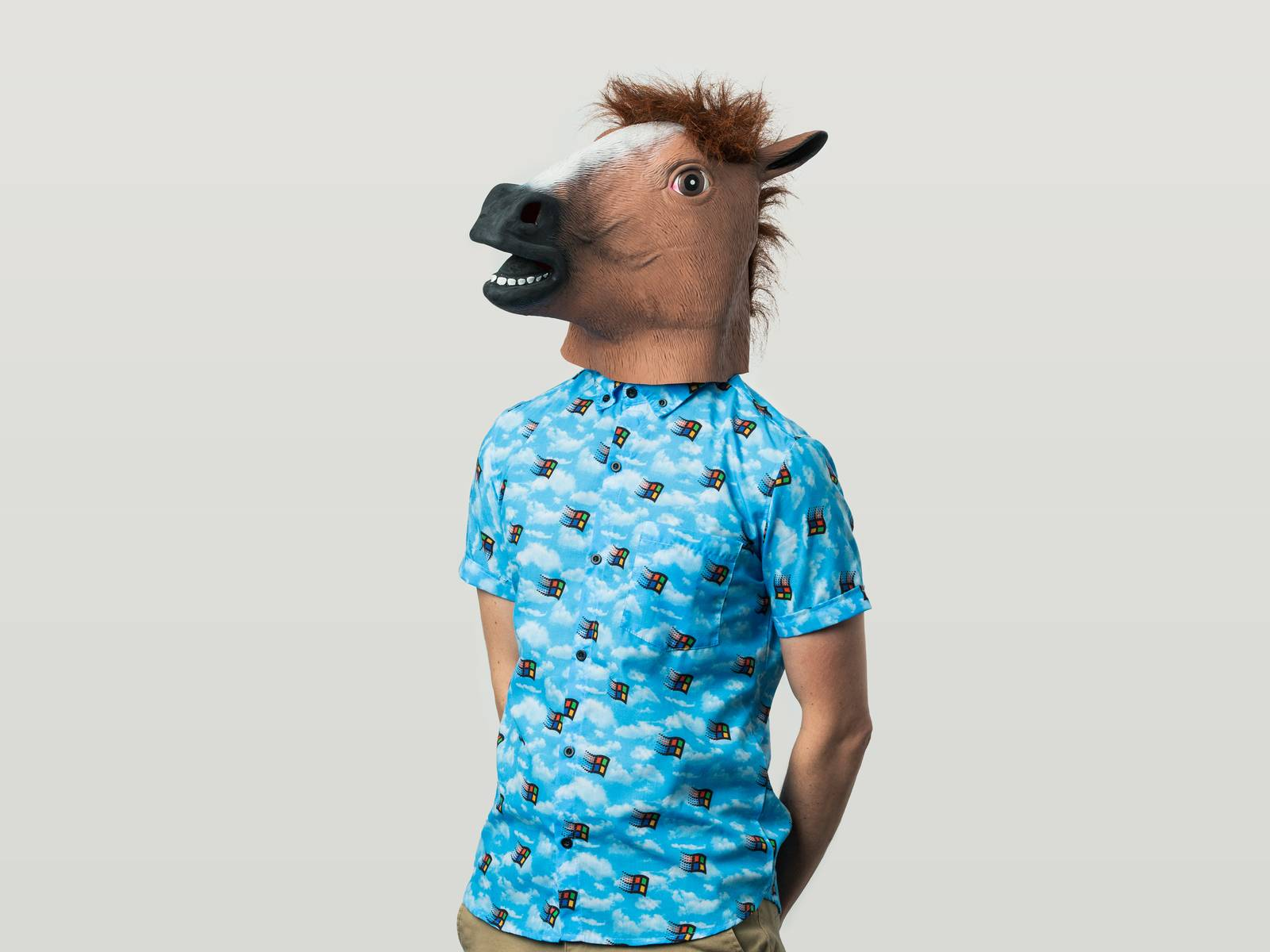 Liam wearing a horse head mask