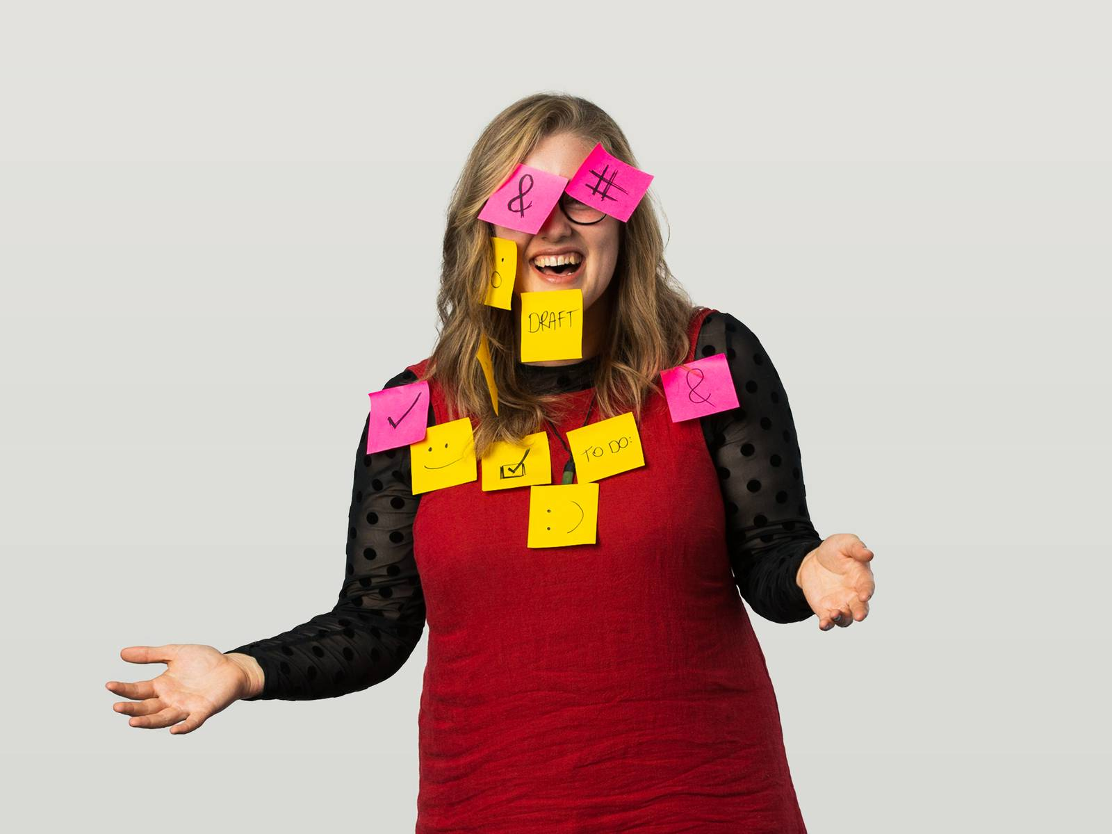 Lucy covered in post-it notes