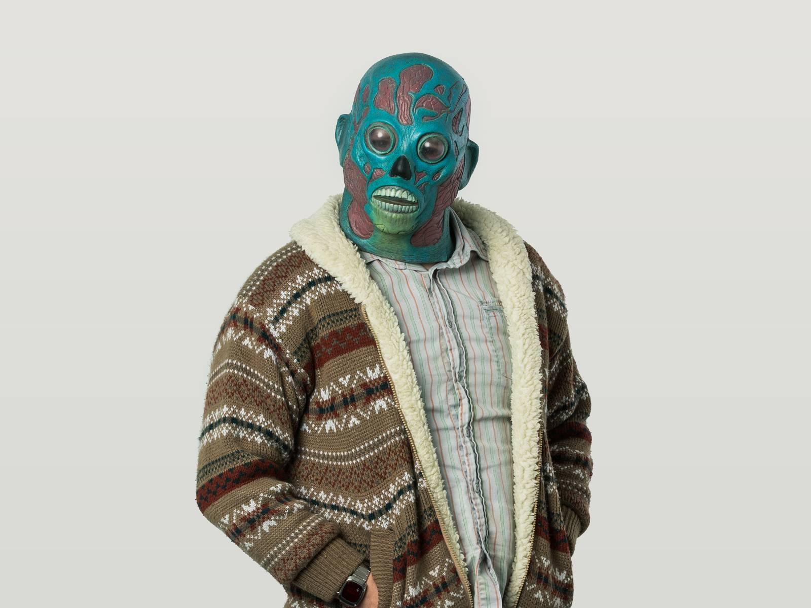 Matt in an alien mask