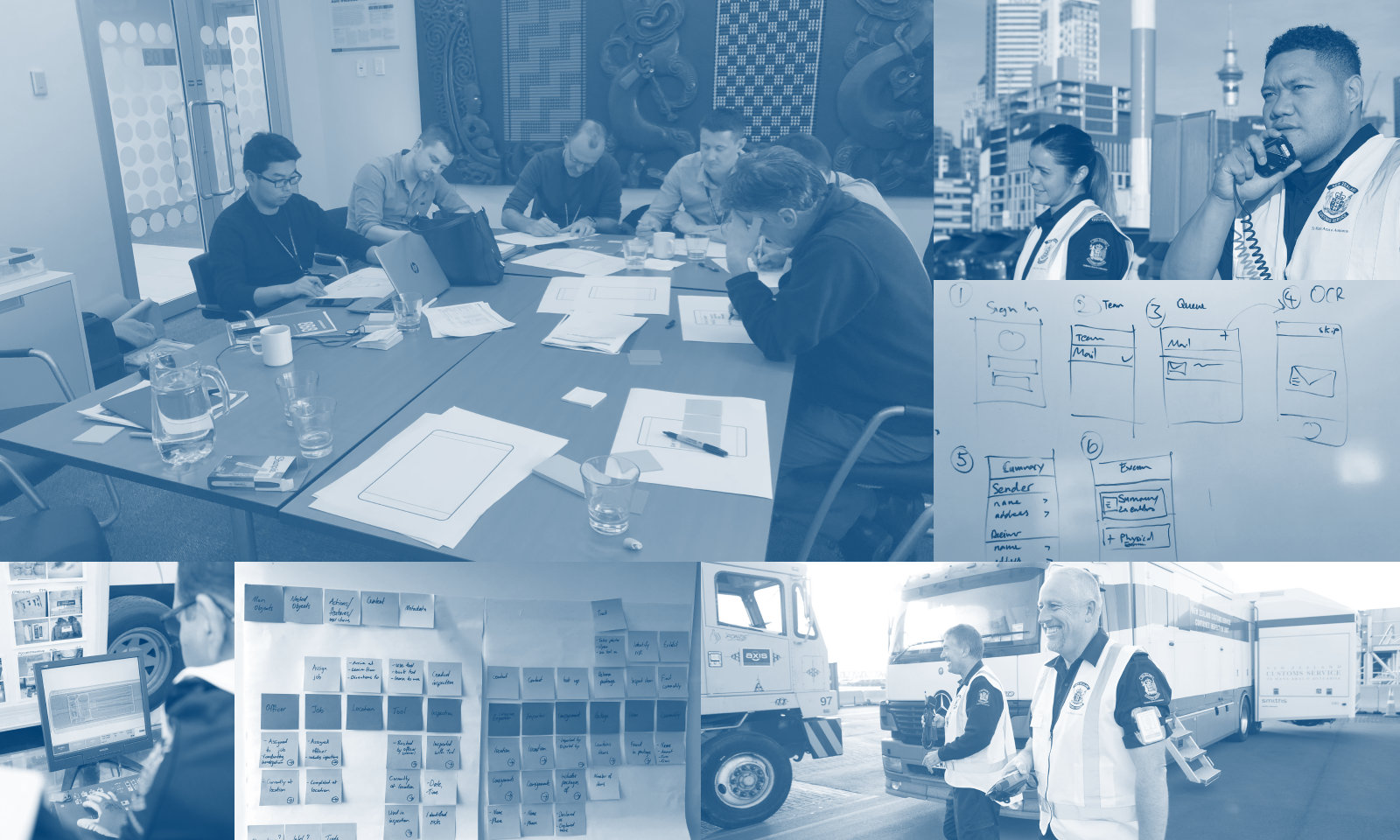 Photo collage of the design process including workshops and sketches