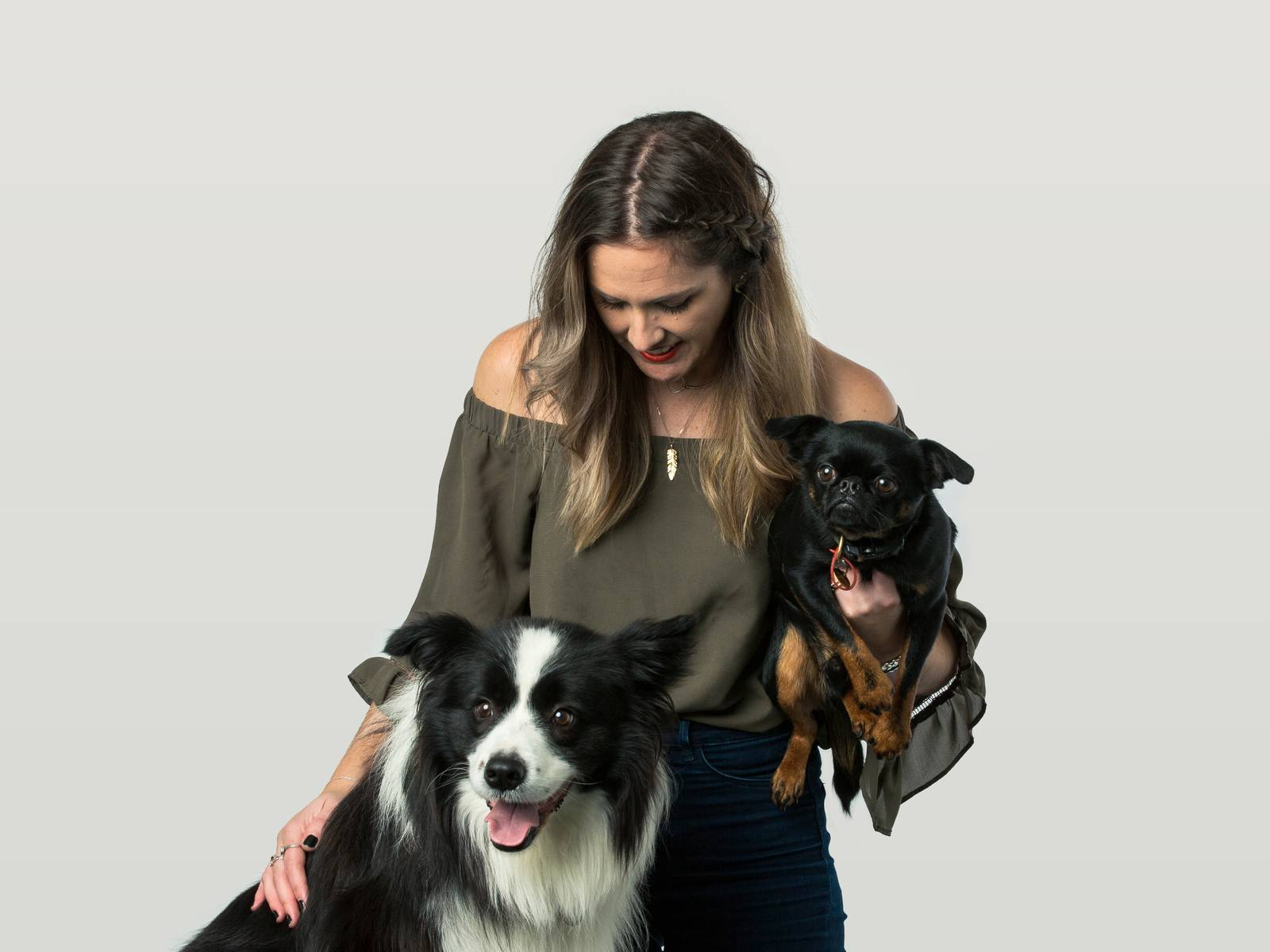 Rosie with her dogs Miles and Rocky