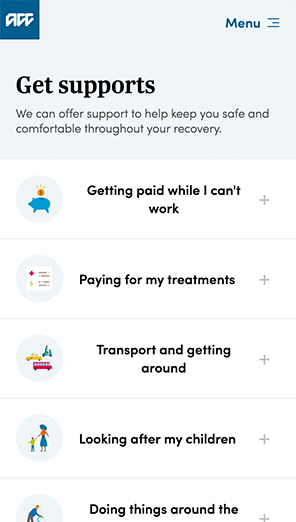 The Get supports screen of MyACC on mobile