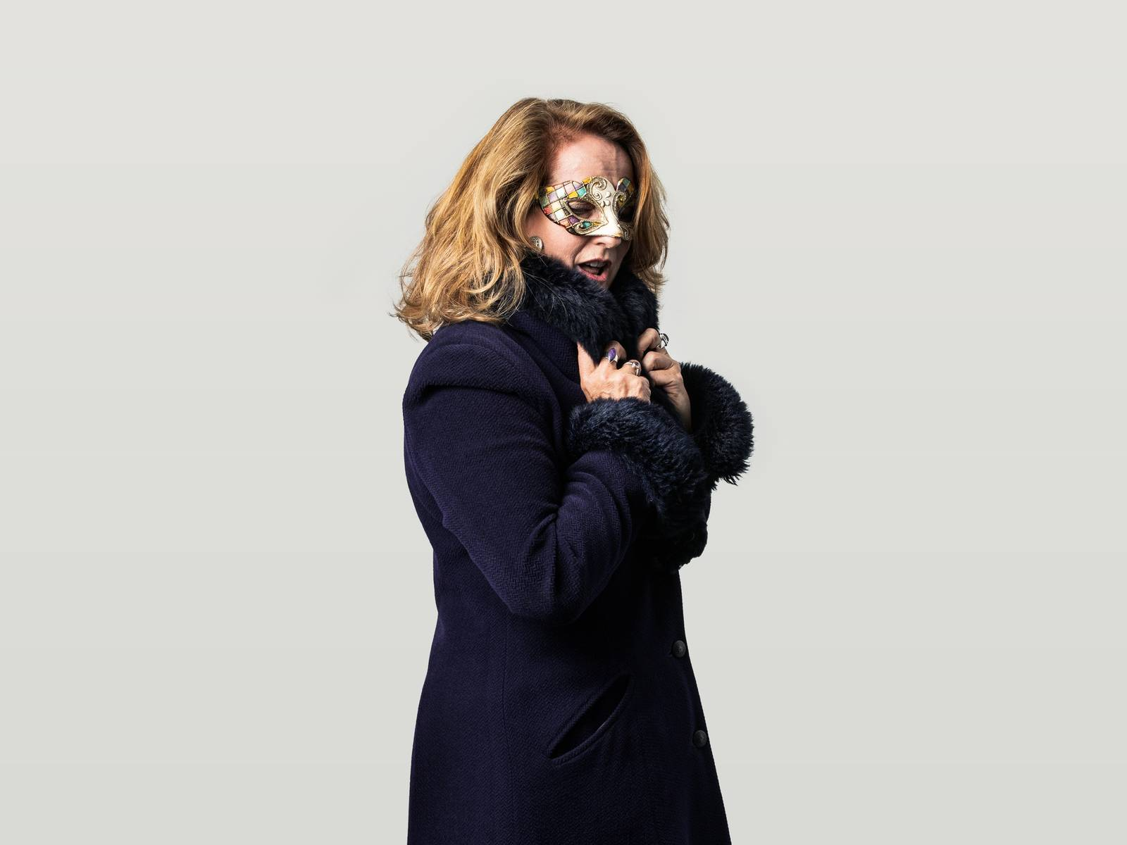 Sharon in a mask