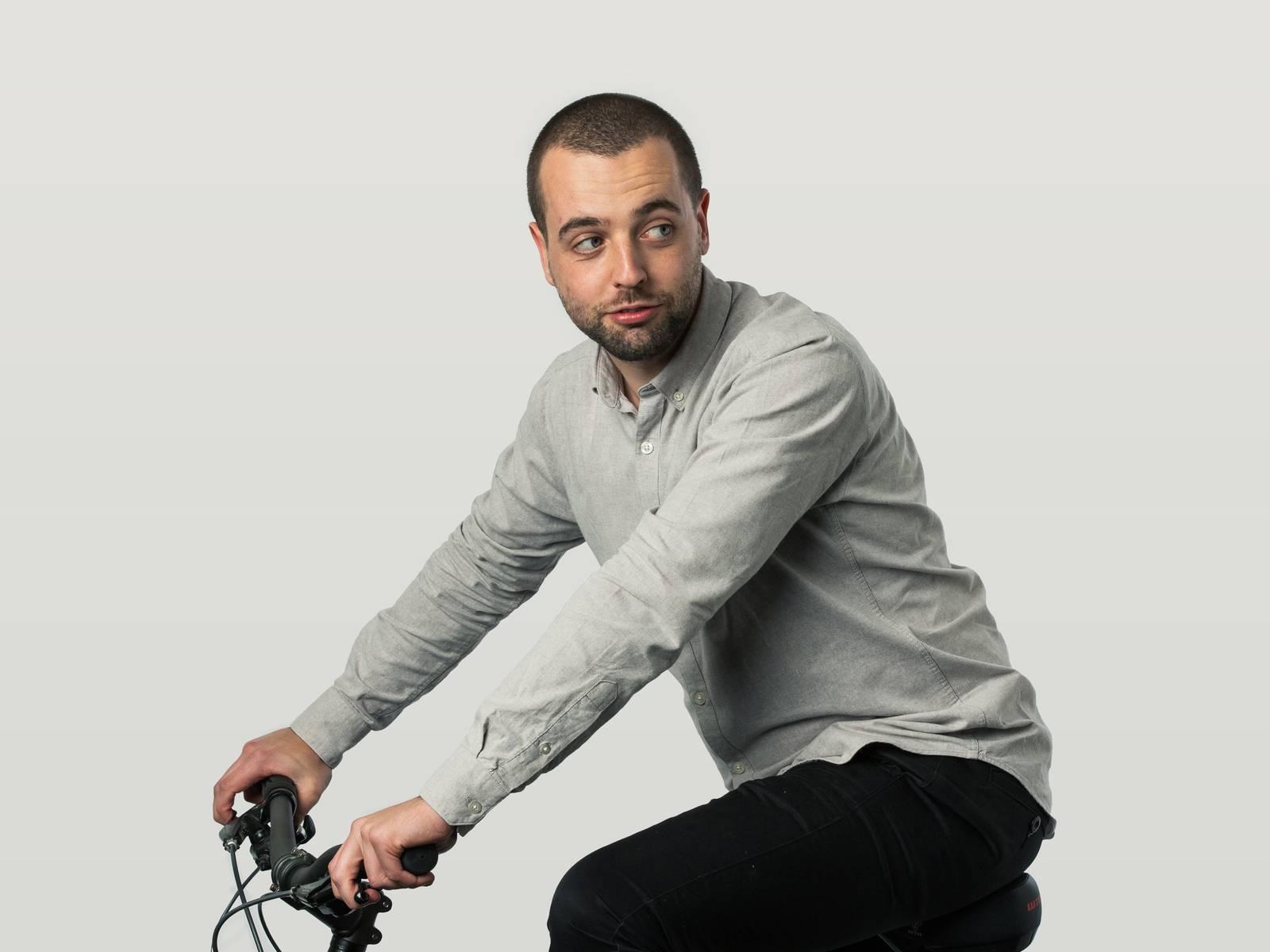 Stuart riding his bike