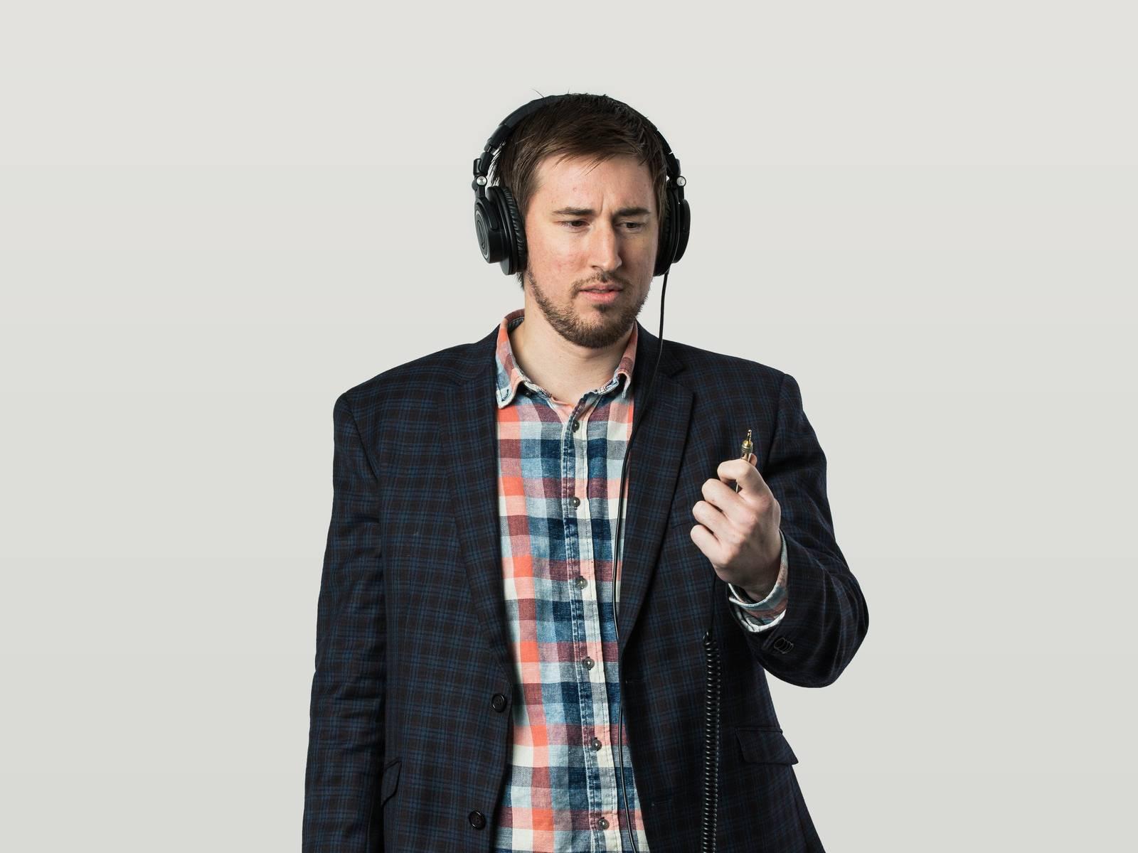 Tommy wearing headphones