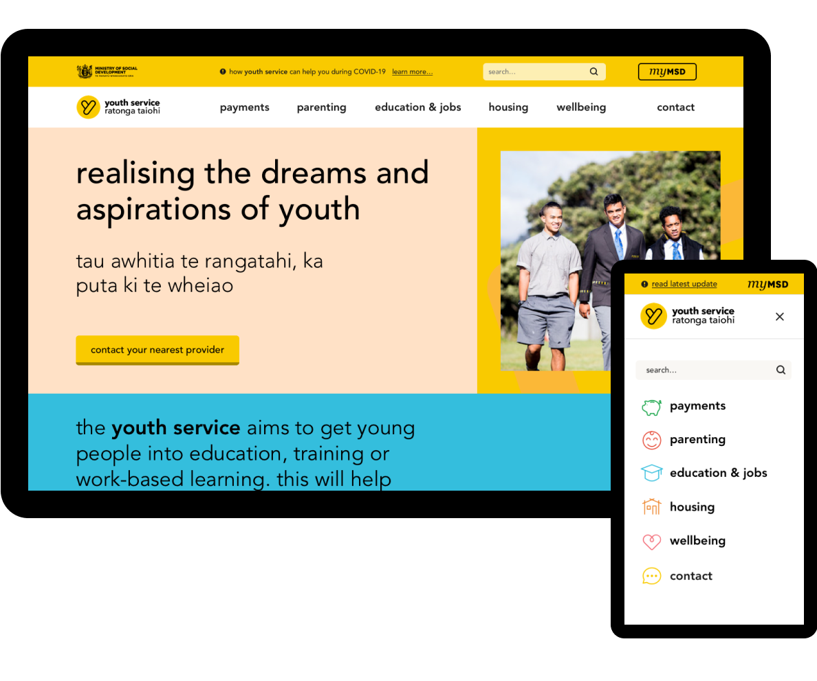Youth Service mobile and desktop