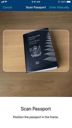 Mobile screenshot of the passport scan feature